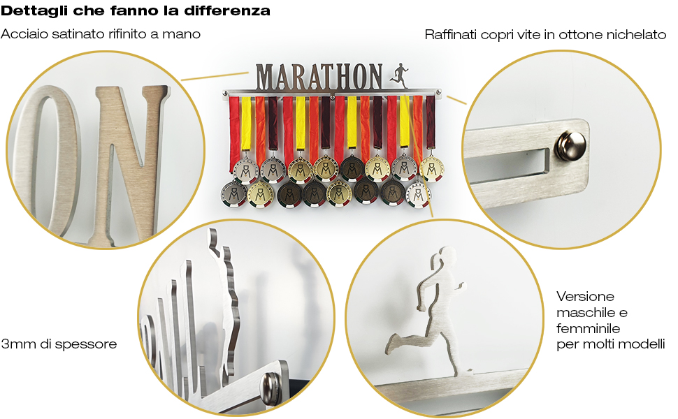 Sport Medal Hanger Porte-M/édaille Mural Never Stop to Dream 100/% Made in Italy Display Rack Acier Inoxydable M/édaille Cintre Sportives
