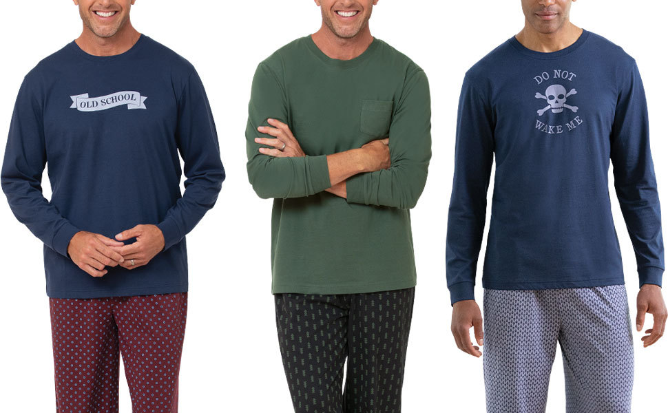 lineup of mens pajamas