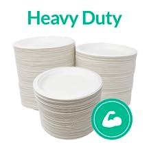 "Heavy Duty Design  Bagasse White Plates 7"" Disposable Plates"