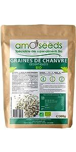 Graines de chanvre décortiquées bio amOseeds specialiste des super aliments bio