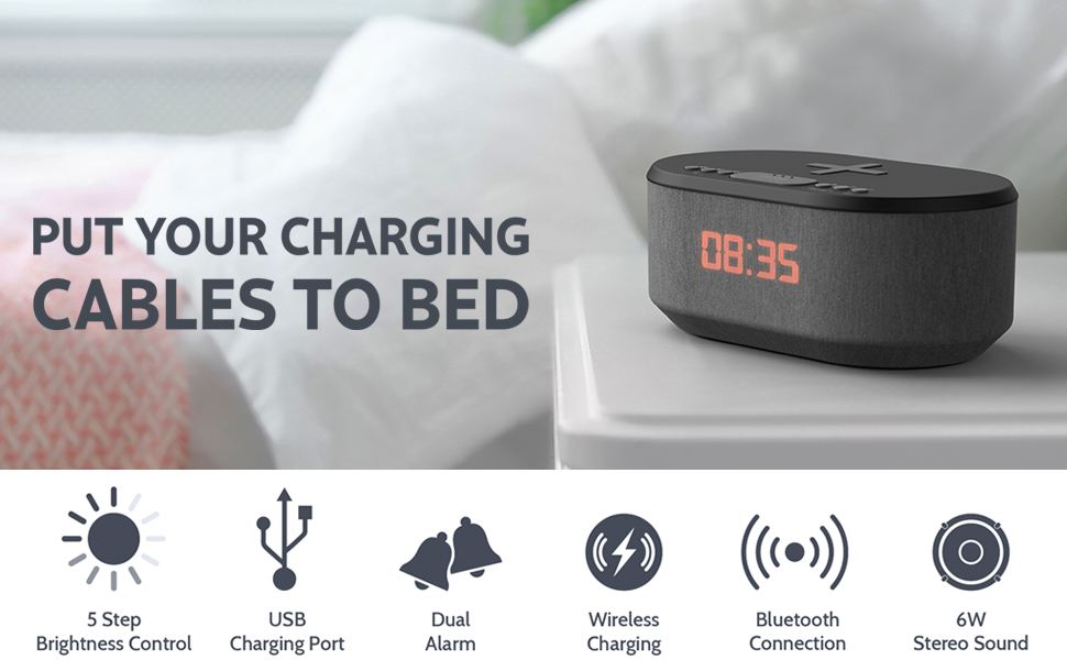 Dawn: Bedside Radio Alarm Clock with USB Charger, Bluetooth Speaker, QI Wireless Charging