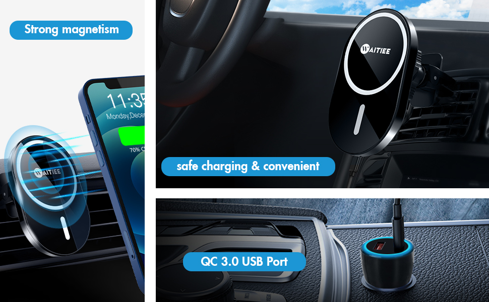 Wireless Car Charger with QC 3.0