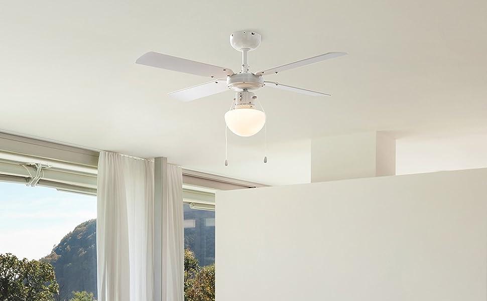 MiniSun - Ventilador de Techo con Luz LED/Tamaño 106cm ...