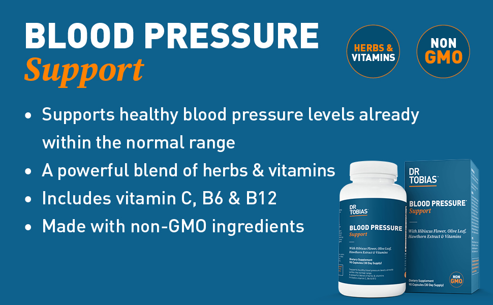 blood, pressure, support, health, levels, herbs, vitamins, non-gmo, wellness, dr tobias, vitamin