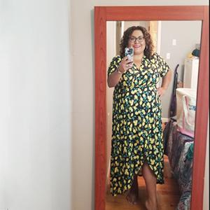 Allegrace Women Plus Size Maxi Dresses Snakeskin Wrap V