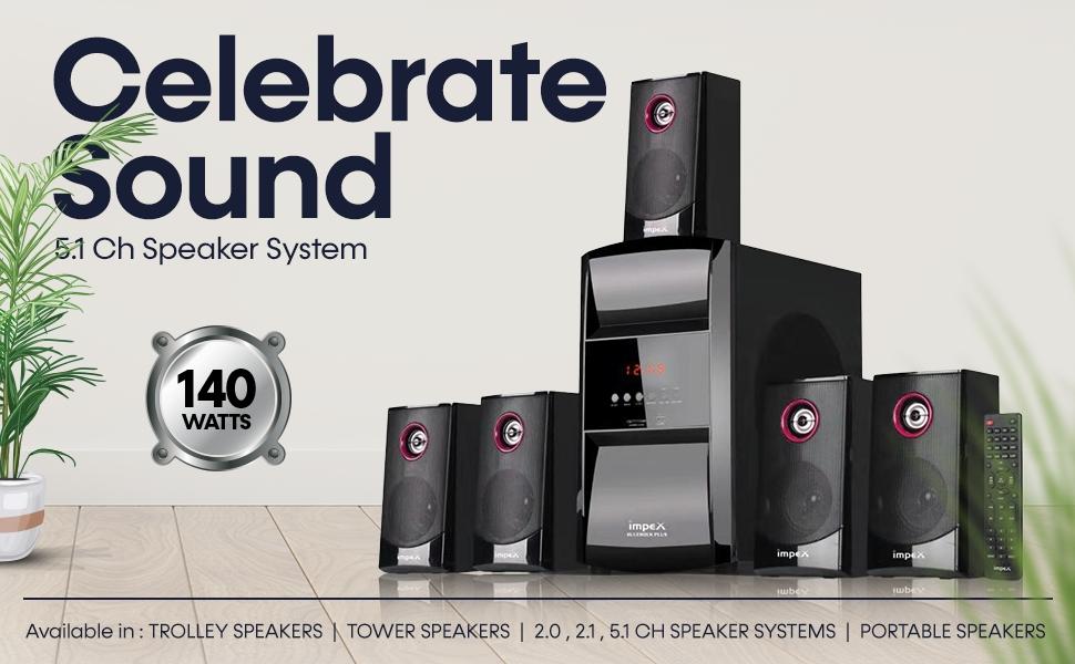 impex blue rock plus 5.1 channel multimedia speaker