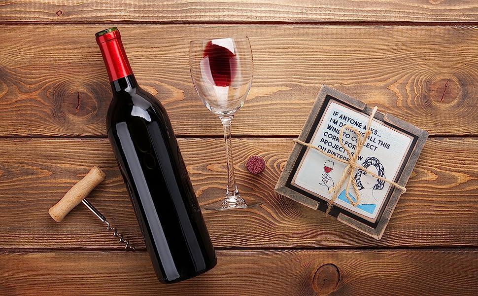 zumatico wine funny coasters women gift gifts housewarming house warming wood rustic set quote