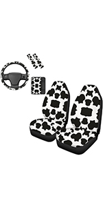 Cow Front Seat Cover with Steering Wheel Cover Armrest Cover Seatbelt Pads