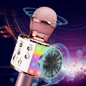 Wireless Bluetooth Karaoke Microphone LED Lights Microphone Kids Best Gifts Toys Girls Boys Adults