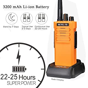 walkie talkies with 3200 mAh battery rechargeable