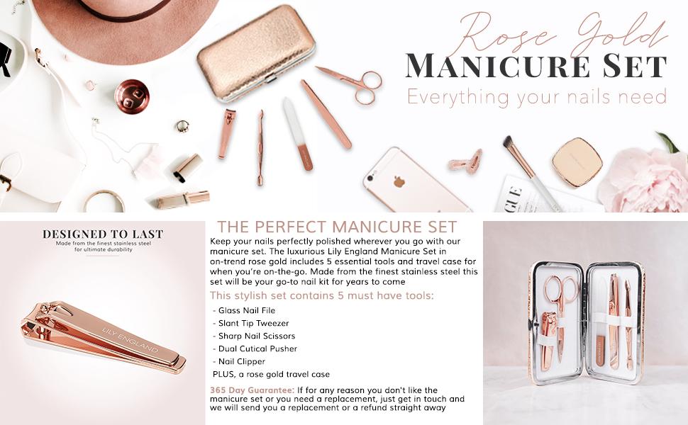 rožinio aukso manikiūro rinkinio dovana mergaitėms moterims paaugliams rožinis dabartinis nagų rinkinio pedikiūro kelionių dydis