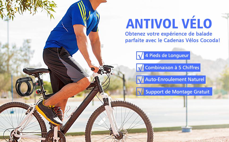 Bike Lock /Étanche pour Motos Cl/ôtures 5 Chiffres Combinaison R/éinitialisable Cadenas V/élos Poussettes 1,2m C/âble de Verrouillage V/élo Auto-Enroulement avec Support de Montage Cocoda Antivol V/élo