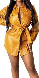 aux Leather Long Sleeve Shirt Mini Dress
