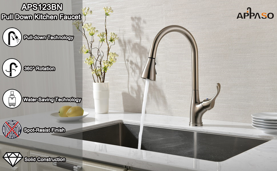 APPASO Single Handle Pull Down Kitchen Faucet with Sprayer Stainless Steel Brushed Nickel