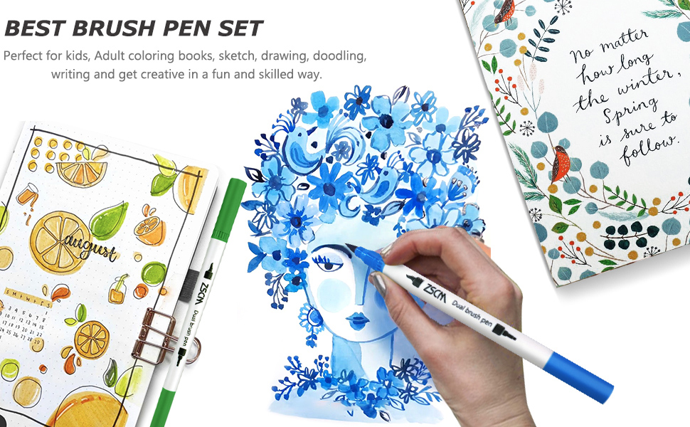 Amazon Com Zscm Dual Brush Pens Art Markers 60 Colors Adult Coloring Books Drawing Colored Pens Fine Point Water Based Markers For Kids School Supplies Note Taking Bullet Journal Sketching Christmas Crafts