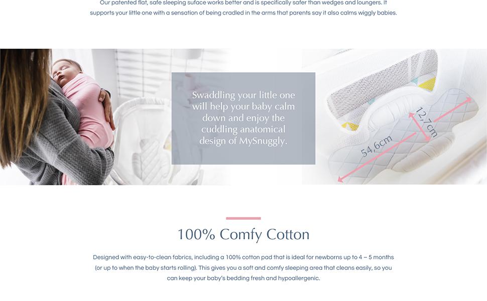 Mysnuggly, Newborn bassinet insert, newborn, baby, sleep, parents, cuddling, swaddle, swaddling