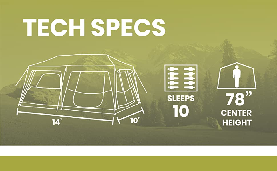 10 people large family tent tall ceiling camping tent large floor multi room room divider rainfly
