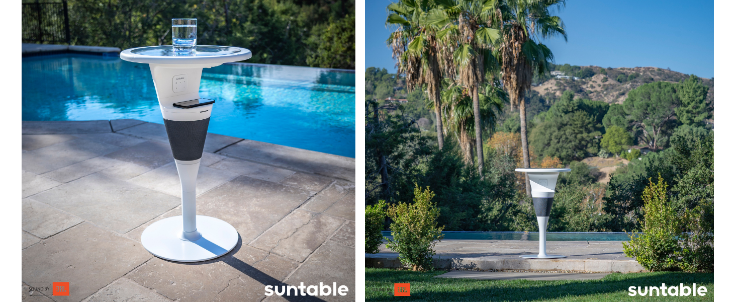 Suntable in use by pool