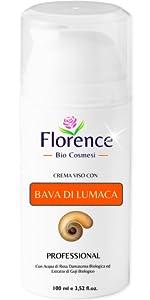 Crema idratante Florence a base di Bava di lumaca e Rosa Damescena Biologica