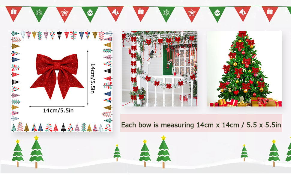 14cm //Golden 5.5in 5.5in N\ A 24-Pack Christmas Decorative Bow 5.5In X 5.5In Christmas Tree Decorative Bow Home Party Decoration 14cm