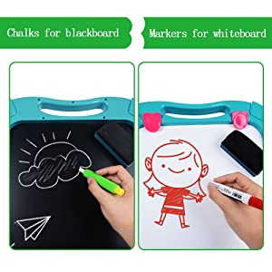 1 - Tomons Art Easel For Kids, Double-Sided Magnetic Dry Erase Board And Chalk Board Adjustable Standing Kids Easel For Toddlers Boys And Girls
