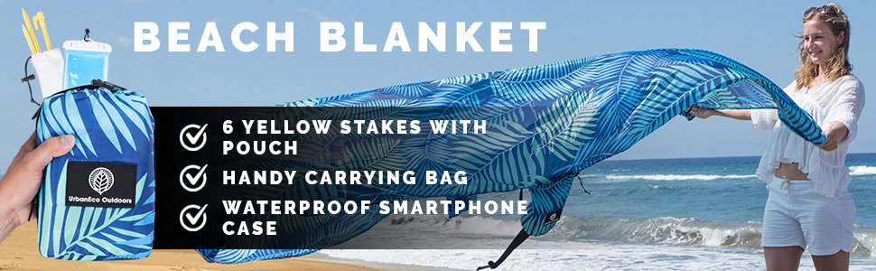 Beach Blanket. 6 Yellow Stakes with pouch. Handy Carrying Bag. Waterproof Smartphone Case