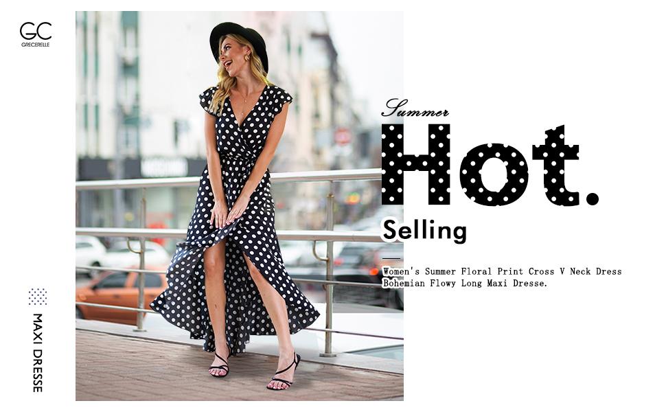 Women's Summer Floral Print Cross V Neck Dress Bohemian Flowy Long Maxi Dresse