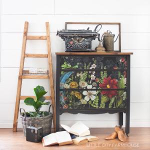 floral black transfer chalk furniture paint home decor diy dresser