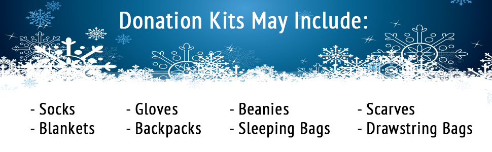 donation kits, kits, wholesale, bulk, scarves, hats, backpacks, blankets