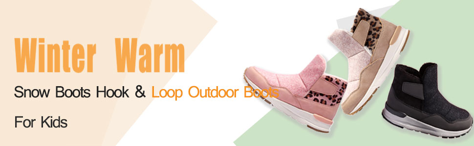ENGTOY Snow Boots Hook and Loop Outdoor Button Boots For Kids