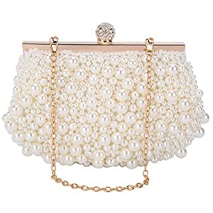 pearls clutch purses for women