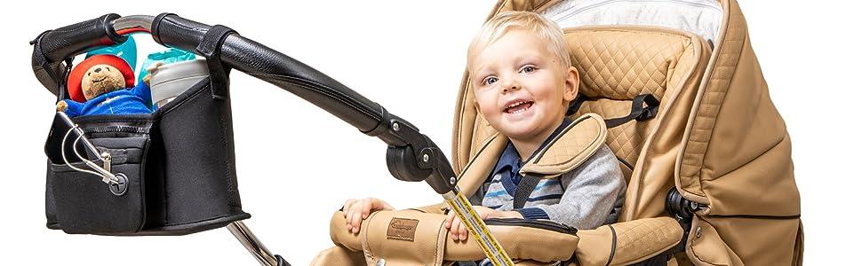 Universal stroller organizer accessory grab and go