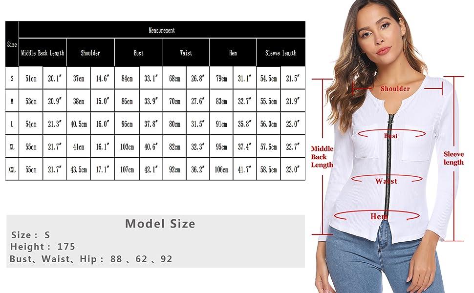 iClosam Camisetas Mujer Manga Large Cremallera Cuello V Casual Tops Blusa Cárdigan Color SóLido