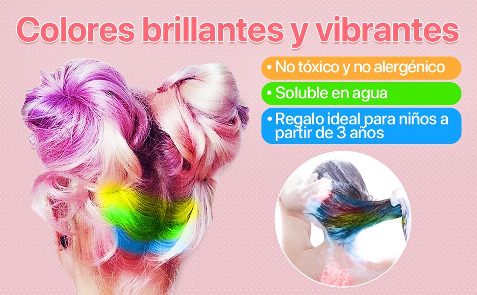 Tiza para el pelo, Coloración Temporal Cabello Tiza Peine Cabello Tinte Cabello - 12 Colores, Color de Cabello con Guantes y Chal Desechable Niños DIY ...