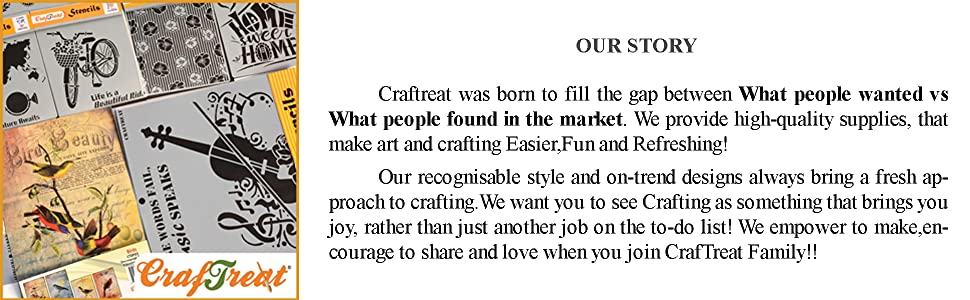 Craftreat Brand story - Wall Border Stencils of Arts and Crafts Stencil Borders
