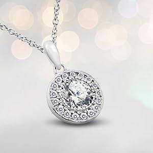 round cut pendant necklace, cubic zirconia