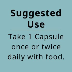 Suggested Use - take 1 capsule once or twice daily with food
