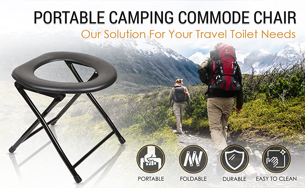 portable camping commode chair porta potty foldable travel seat