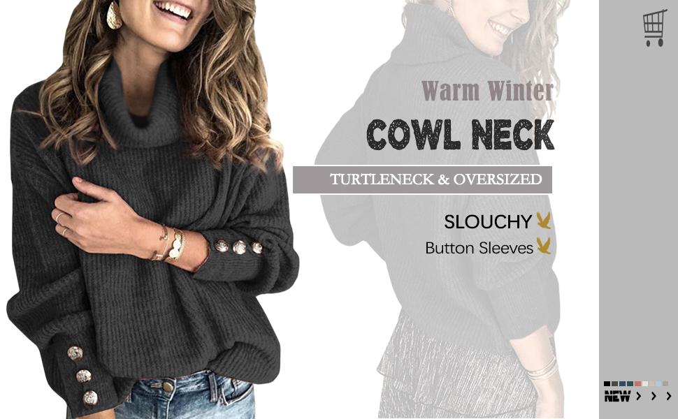 Women's Cowl Neck Long Sleeve Sweaters