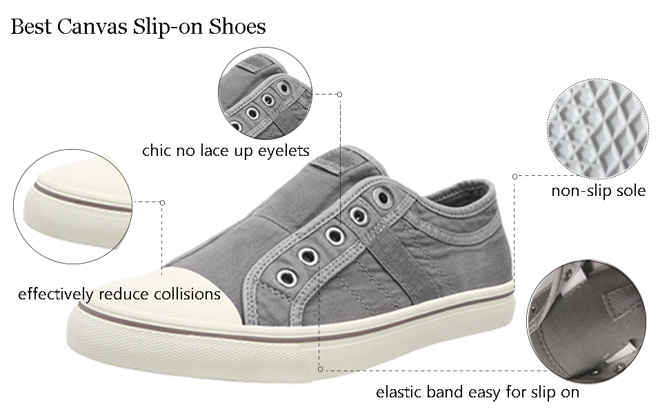 a5bc93f66c2d3 Blivener Women's Canvas Slip On Trainers Round Toe Casual Sneakers Shoes
