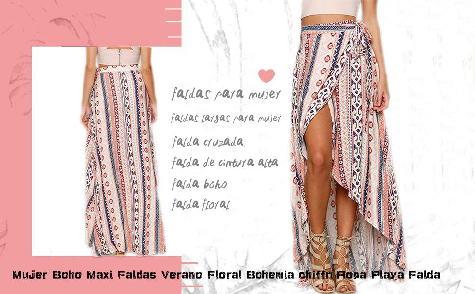 Las Mujeres De Gasa Falda Boho Maxi Verano Bohemia Falda Floral ...