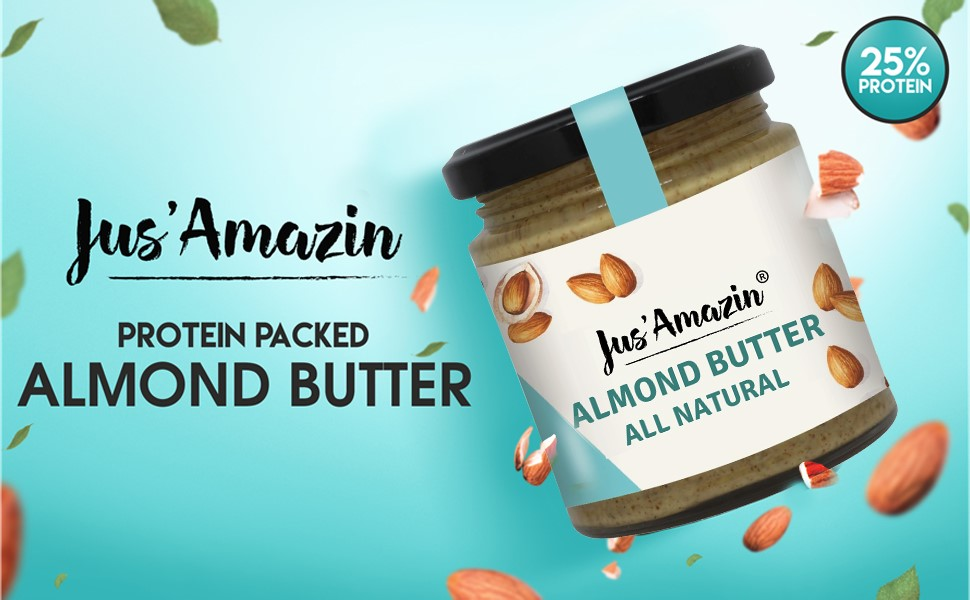 Jus' Amazin Almond Butter, All Natural, 200g