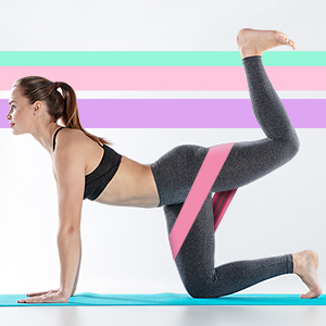 Resistance Loop Bands Legs Butt Squats Thighs Hips Glutes Booty Workout Yoga Pilates Exercise Women