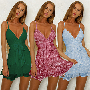 ECOWISH Sexy V Neck Mini Dress