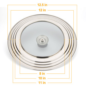 WISH Universal Pans Pots Lid Cover Fit All 7 Inch to 12.5 Inch Pots//Pans//Woks Stainless Steel and Glass Lid with Heat Resistant Knob