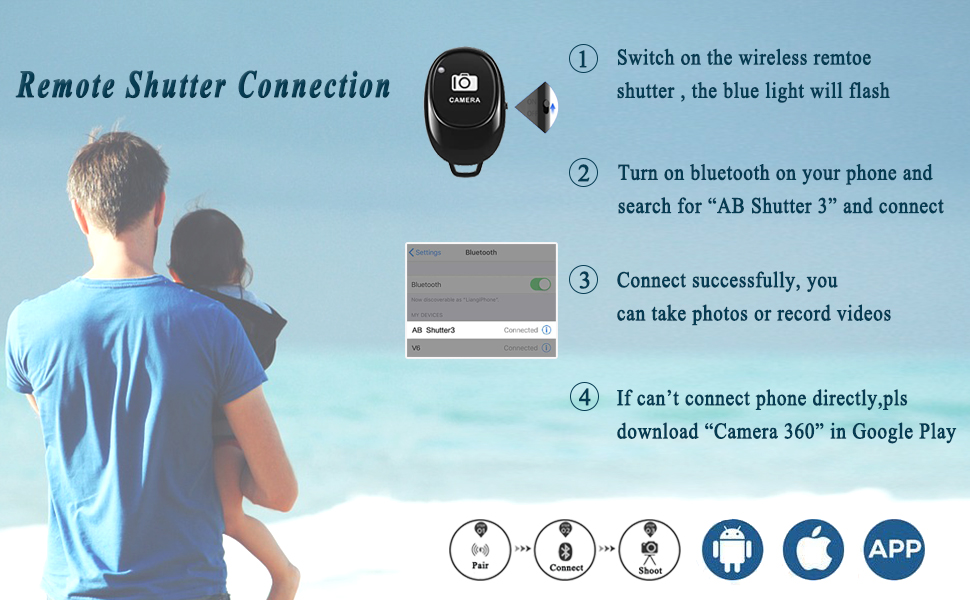 Wireless Bluetooth Remote Control Shutter for Selfie Phone Remote Selftimer Phone Accessories