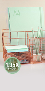 the big sizes rose gold desk organizer that can fit in alot more stationery like papers, erasers,