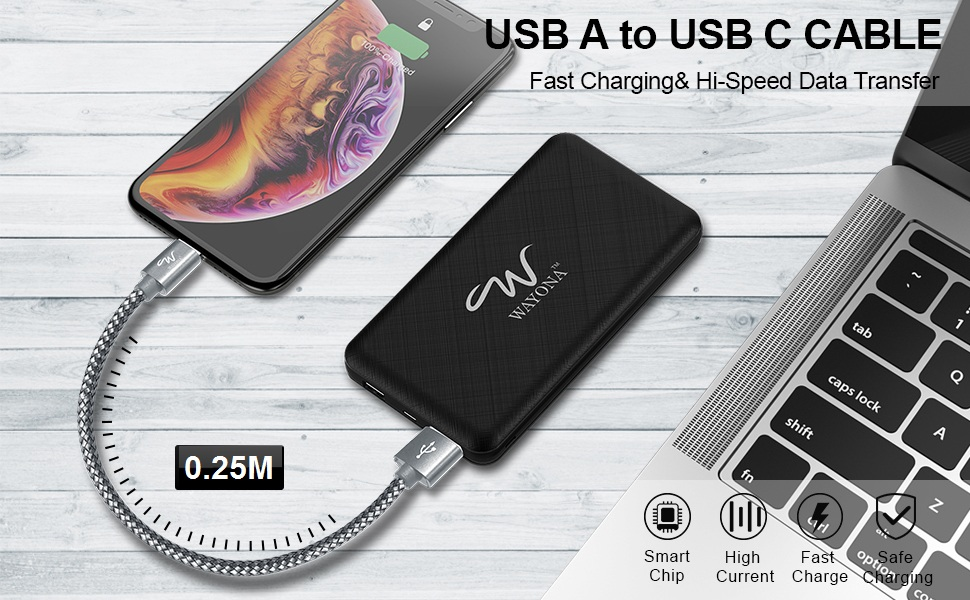 Short Fast Type C data cable for power bank