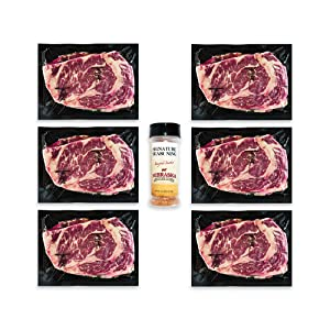 14oz prestige ribeye, seasoning, angus, beef