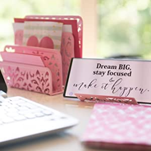 Pink Desk Organizer for Women and Girls Home Office Decor Storage Cute Girly Pretty Fun Teen Dorm
